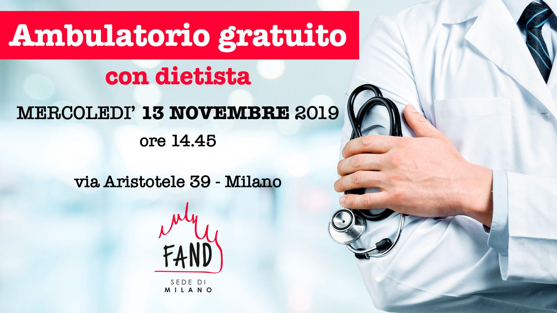 13 novembre - Ambulatorio gratuito con dietista