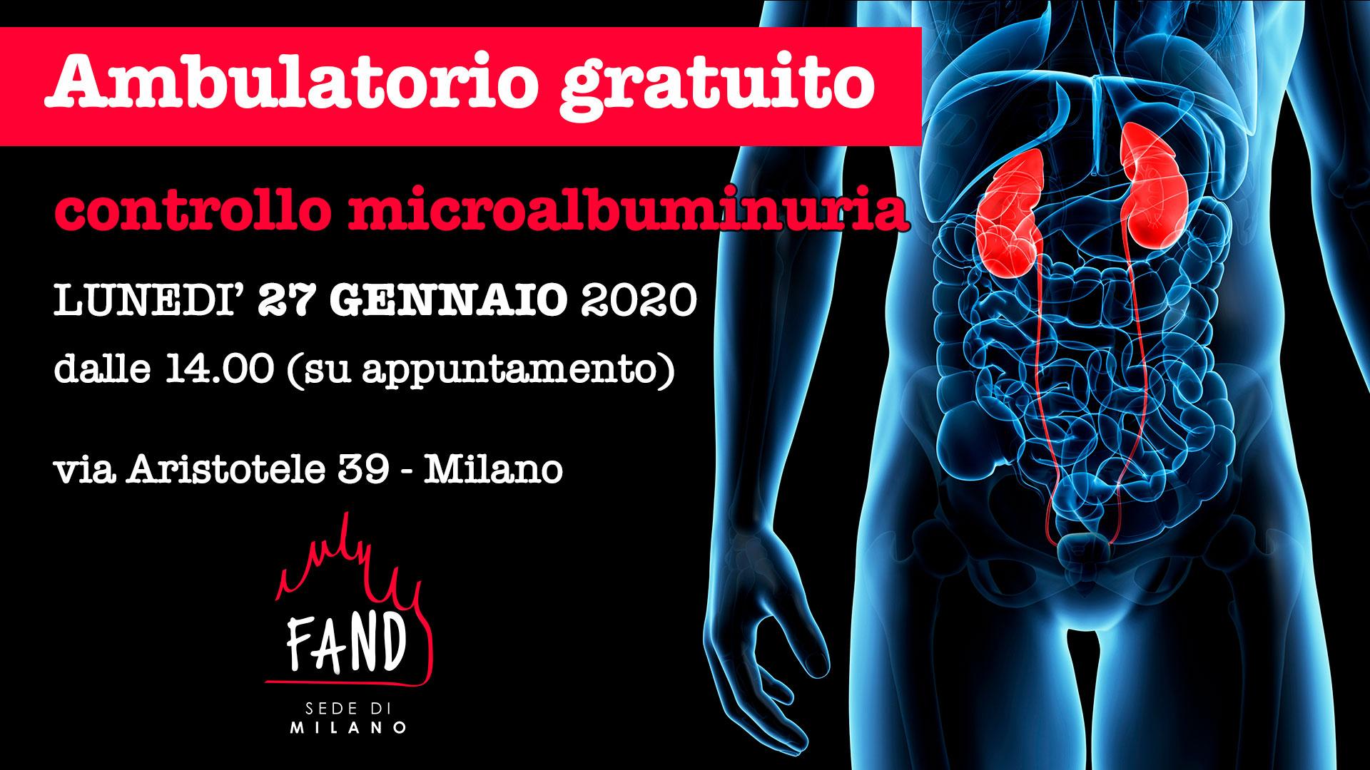 27 GEN - Ambulatorio gratuito controllo microalbuminuria