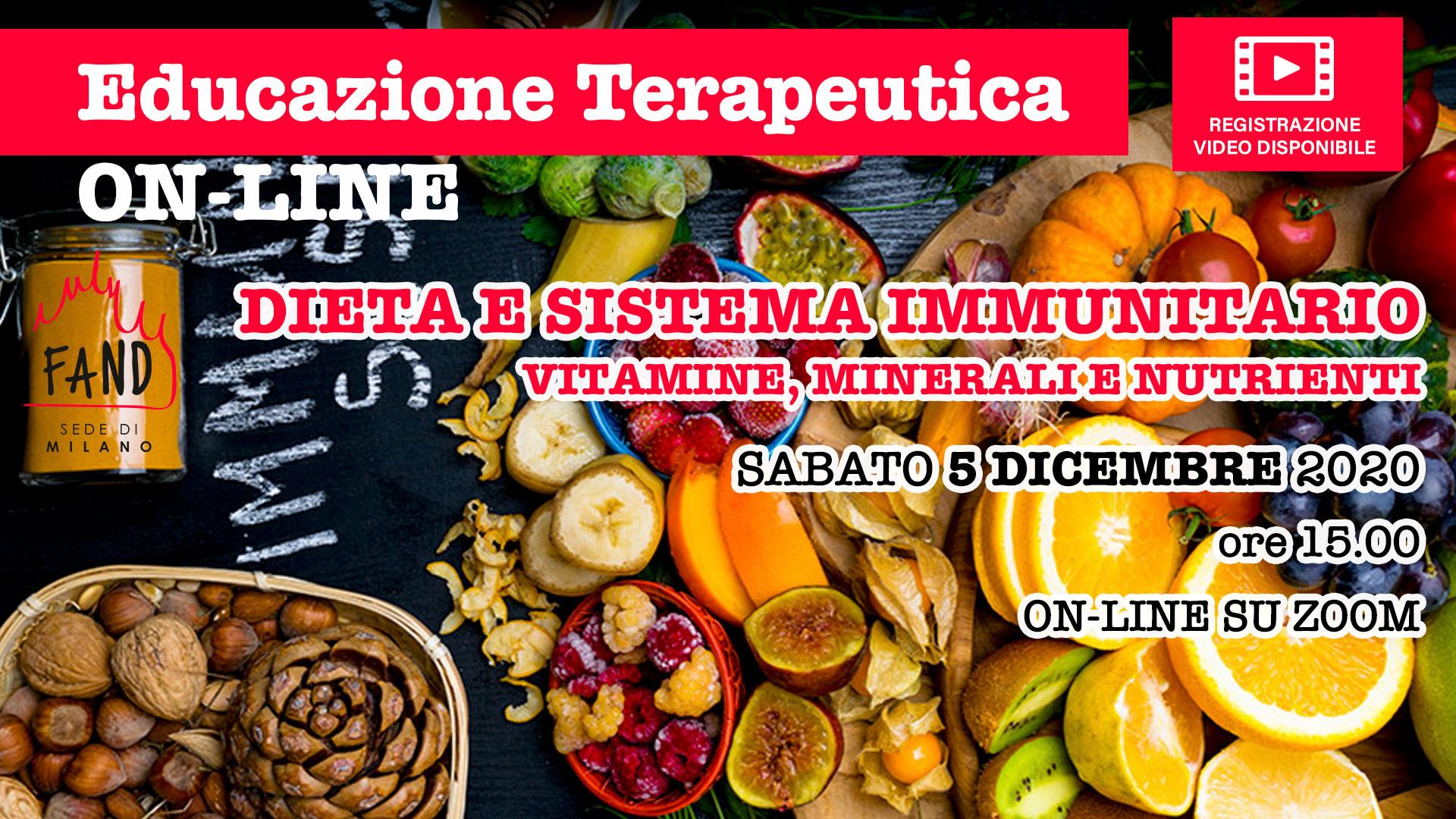 Sabato 5 dicembre 2020 - Incontro di educazione terapeutica - Dieta e sistema immunitario - vitamine, minerali e nutrienti